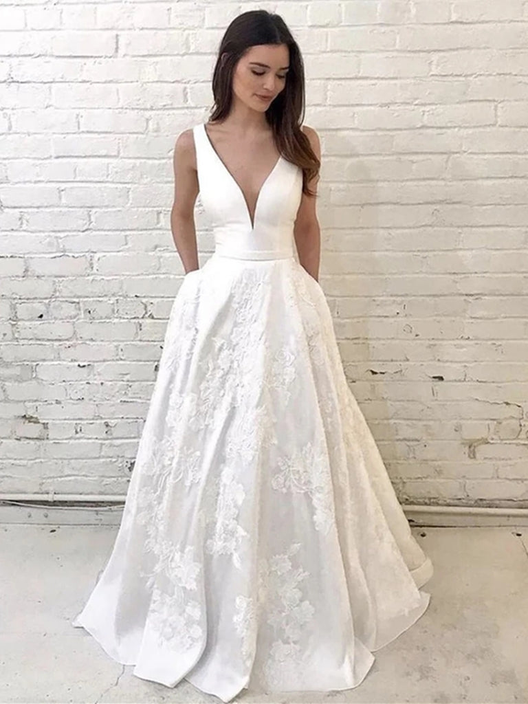 Unique V Neck Lace Appliques White Long Prom Wedding Dresses, V Neck White Lace Formal Dresses, White Lace Evening Dresses