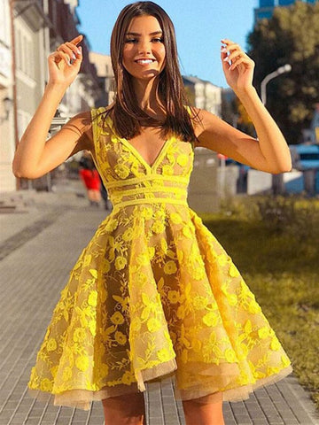 b7d9617f7f31 Unique V Neck Lace Appliques Yellow Short Prom Dresses Homecoming Dresses,  Yellow Lace Formal Dresses