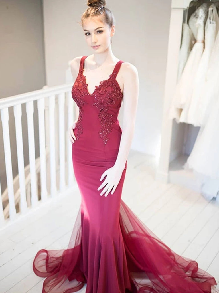 Unique V Neck Mermaid Beaded Lace Burgundy Long Prom Dresses, Mermaid Lace Burgundy Formal Graduation Evening Dresses