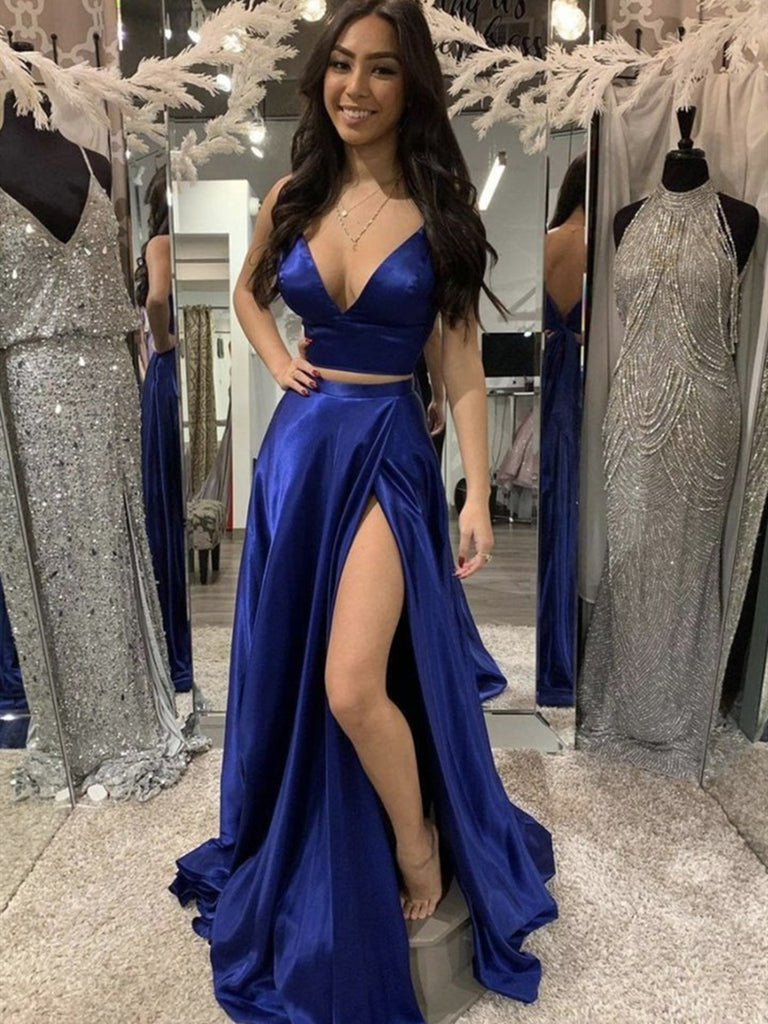 V Neck 2 Pieces Royal Blue Satin Long Prom Dresses with Slit, Two Pieces Royal Blue Formal Graduation Evening Dresses