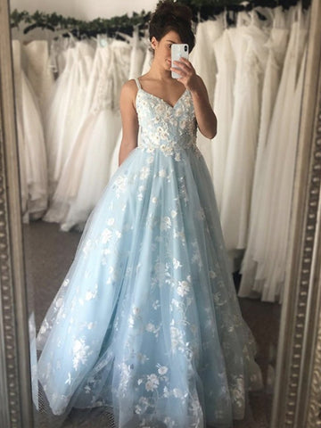 V Neck Appliques Light Blue Lace Long Prom Dresses, Light Blue Lace Formal Dresses, Blue Evening Dresses