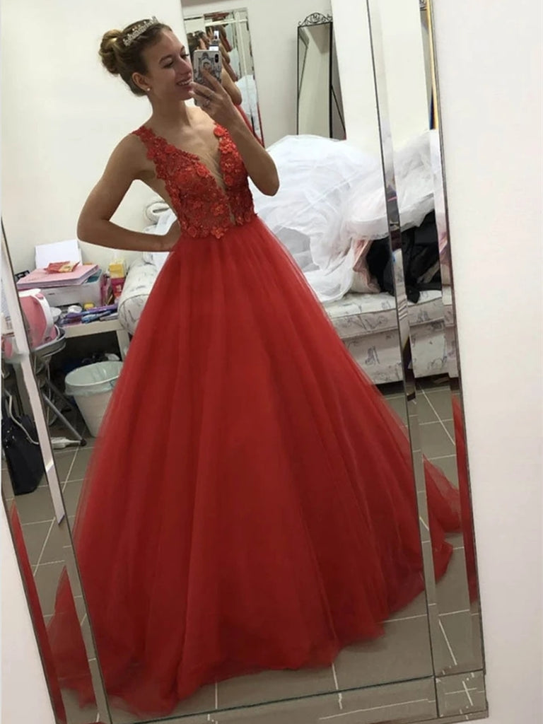V Neck Backless Appliques Top Red Lace Long Prom Dresses, Backless Red Lace Formal Dresses, Red Lace Evening Dresses