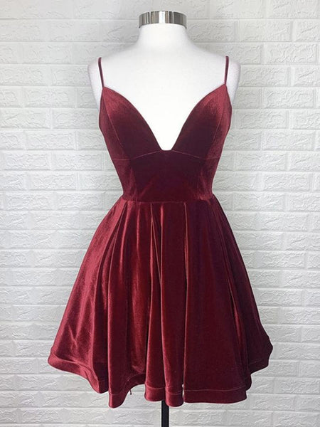 V Neck Backless Burgundy Velvet Short Prom Dresses, Short Burgundy Formal Graduation Homecoming Dresses