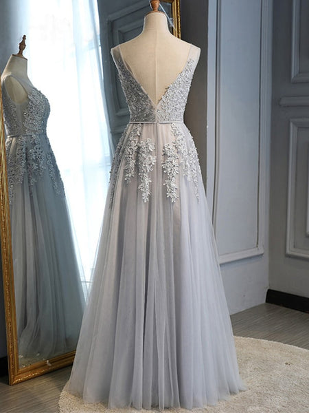 V Neck Backless Gray Lace Long Prom Dresses, Gray Lace Formal Graduation Evening Dresses, Gray Bridesmaid Dresses