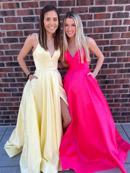 V Neck Backless High Slit Yellow/Hot Pink Long Prom Dresses with Pockets, Yellow/Hot Pink Formal Graduation Evening Dresses