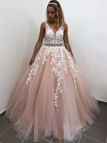 V Neck Backless Long Pink Lace Prom Dresses, Pink Lace Formal Dresses, Pink Evening Dresses
