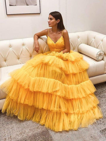 V Neck Backless Yellow Tulle Layered Long Prom Dresses, Layered Yellow Formal Evening Dresses