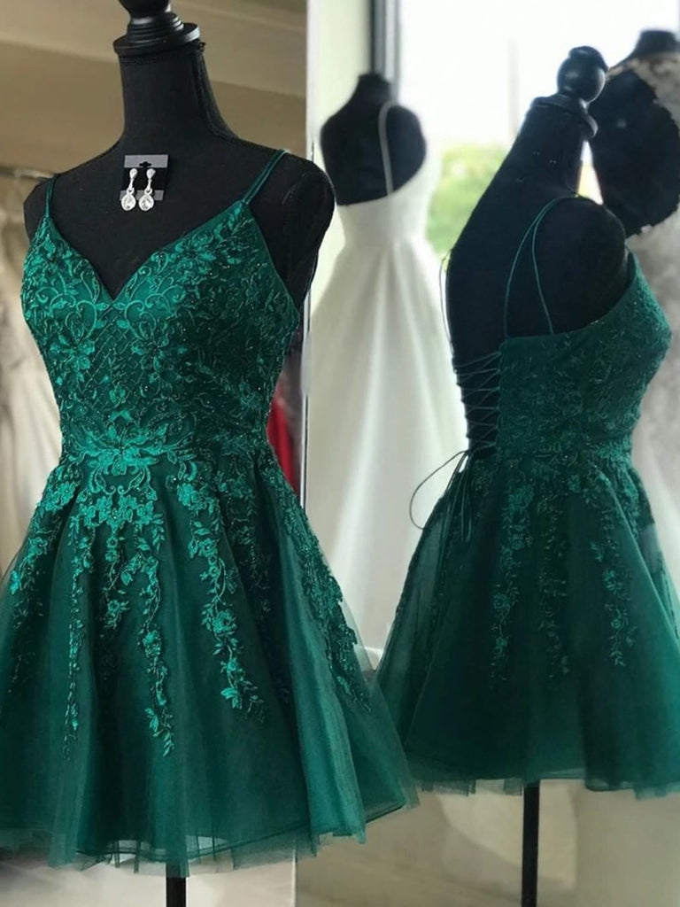 V Neck Emerald Green Lace Appliques Short Prom Dresses, Emerald Green Lace Homecoming Dresses, Emerald Green Formal Graduation Evening Dresses