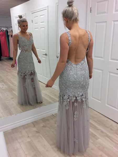 V Neck Floor Length Backless Mermaid Grey Lace Appliques Long Prom Dresses, Mermaid Grey Lace Formal Evening Dresses
