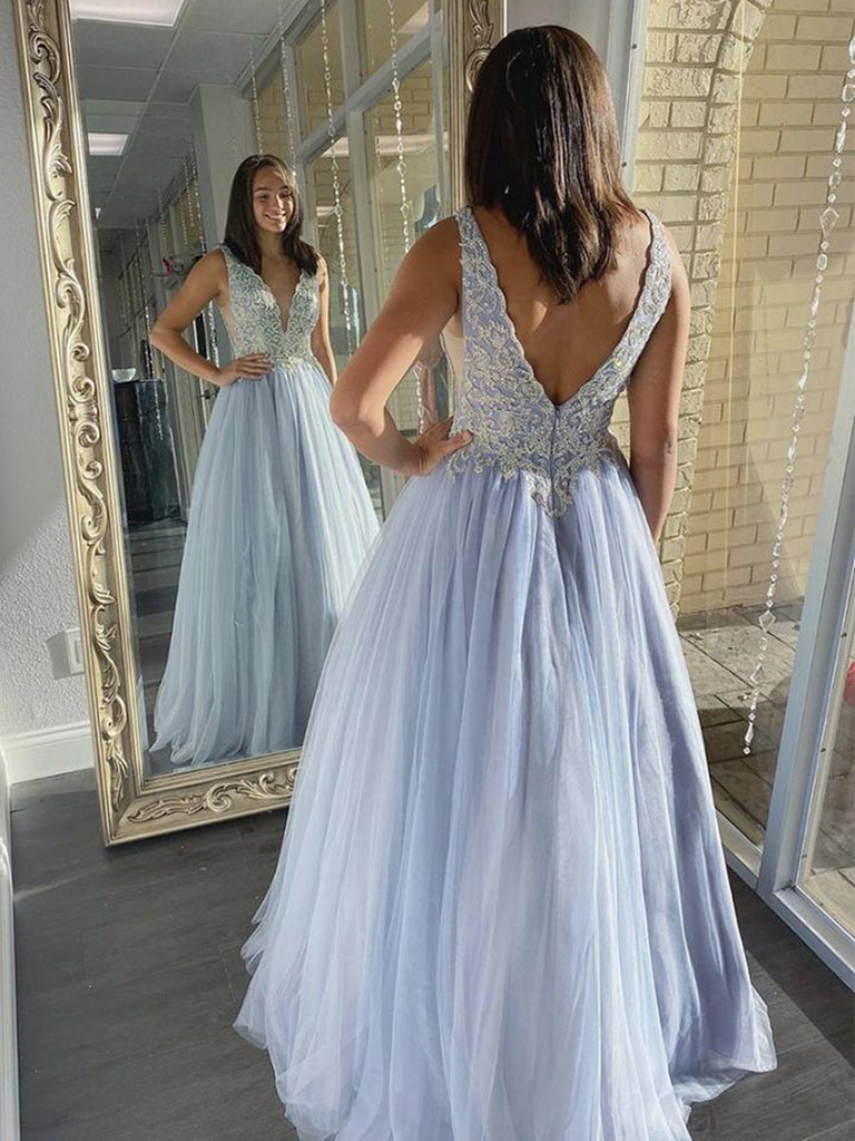 A Line V Neck Light Blue Lace Long Prom Dresses, Light Blue Lace Formal Dresses, Light Blue Evening Dresses