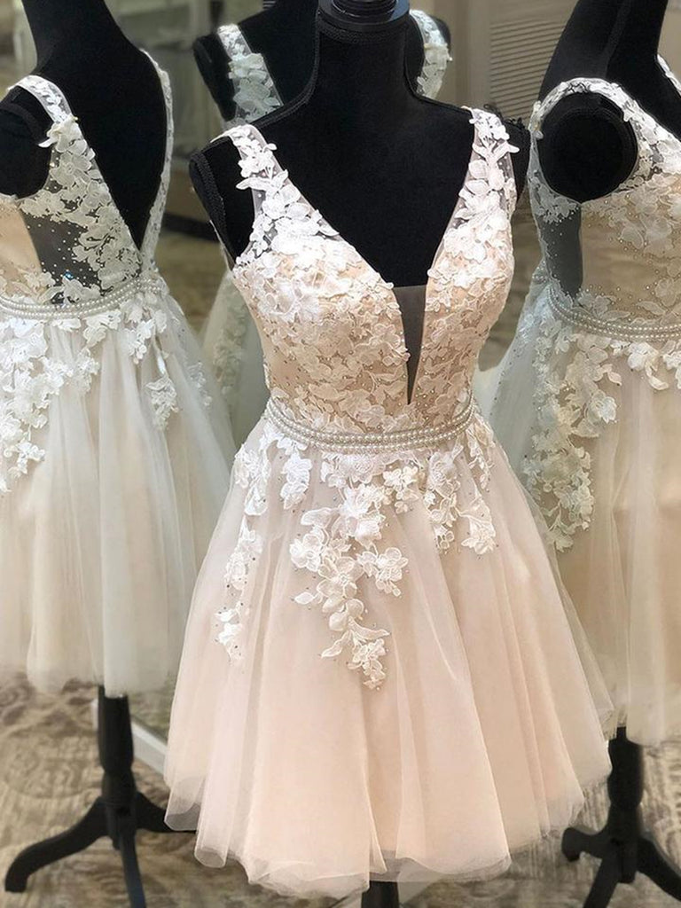 V Neck Light Champagne Lace Floral Short Prom Dresses, Light Champagne Lace Formal Graduation Homecoming Dresses