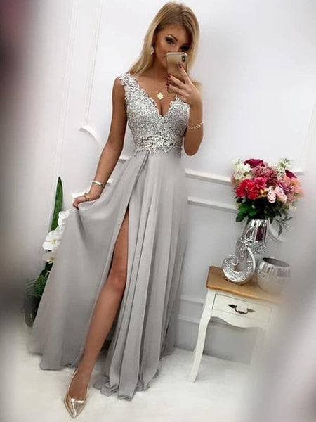 V Neck Long Grey Lace Prom Dresses with Slit, Grey Lace Long Formal Graduation Evening Dresses