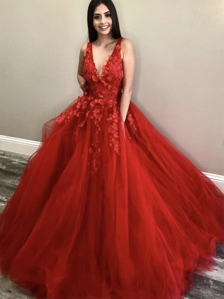 V Neck Long Red Lace Floral Prom Dresses, Red Lace Formal Dresses, Red Floral Evening Dresses