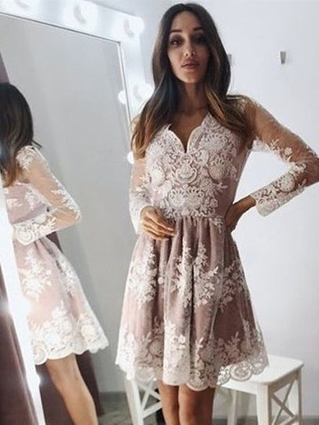V Neck Long Sleeves Champagne Lace Short Prom Dresses Homecoming Dresses, Chamagne Lace Formal Graduation Evening Dresses