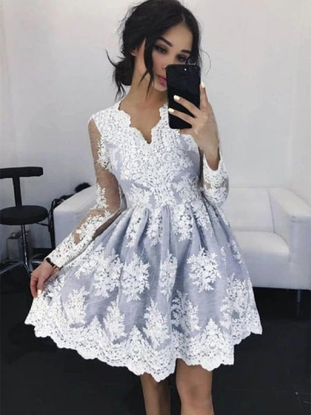 V Neck Long Sleeves Gray Lace Short Prom Homecoming Dresses, Gray Lace Formal Graduation Evening Dresses, Grey Cocktail Dresses