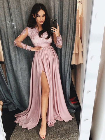 V Neck Long Sleeves Pink Lace Prom Dresses with Leg Slit, Long Sleeves Pink Lace Formal Dresses, Pink Lace Evening Dresses