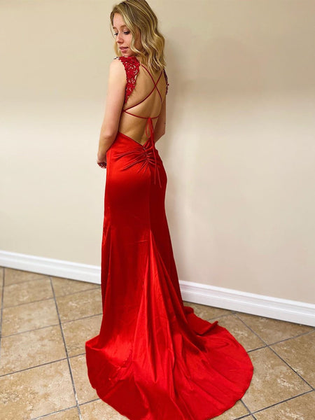 V Neck Mermaid Backless Red Lace Long Prom Dresses with Slit, Mermaid Red Formal Dresses, Red Lace Evening Dresses