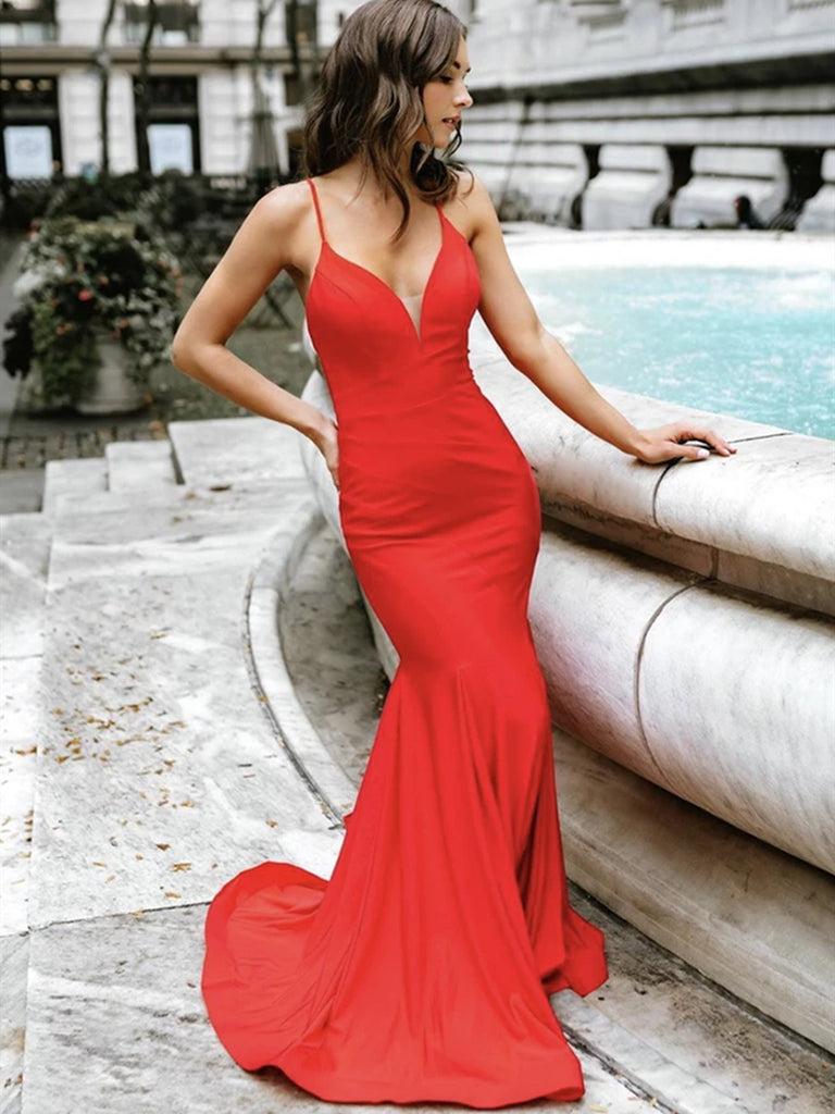 V Neck Mermaid Red Long Prom Dresses with Straps, Mermaid Red Formal Graduation Evening Dresses