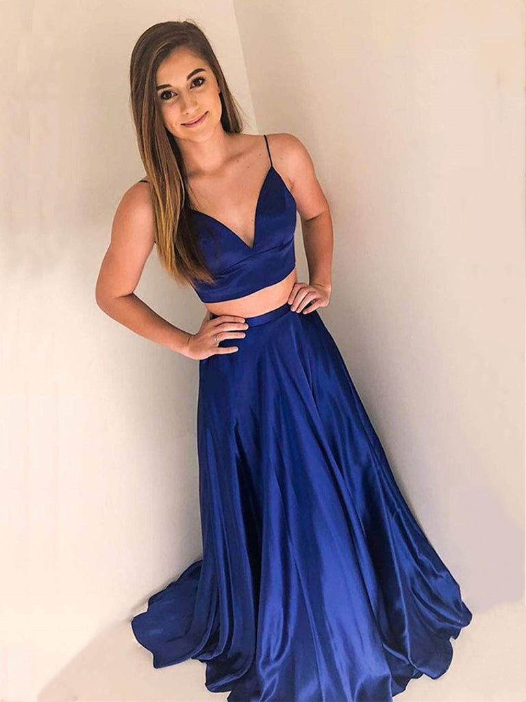 V Neck Two Pieces Royal Blue Long Prom Dresses, Two Pieces Royal Blue Formal Graduation Evening Dresses