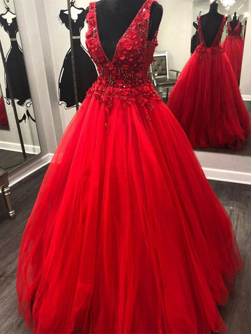 V Neck and V Back Beading Red Lace Floral Long Prom Dresses, Open Back Red Formal Dresses, Gorgeous Red Evening Dresses