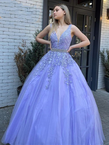 V Neck and V Back Purple Lace Long Prom Dresses with Belt, Open Back Purple Lace Formal Evening Dresses