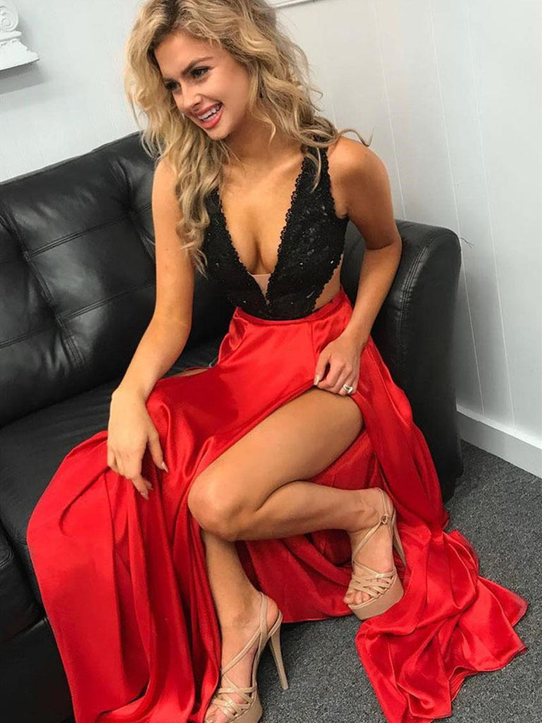 V Neck 2 Pieces Black Lace and Red Satin Long Prom Dresses with Detachable Train High Slit, Graduation Dresses, Formal Dresses