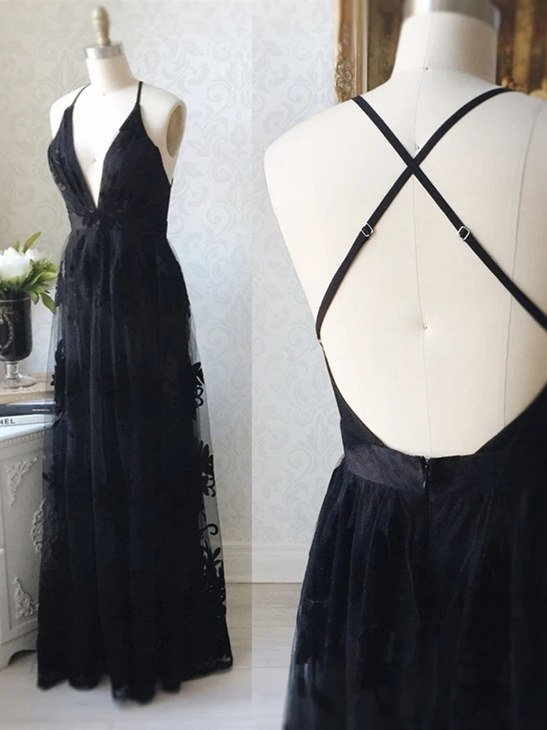 V Neck Backless Black Lace Long Prom Dresses, Backless Black Formal Dresses, Black Lace Evening Dresses
