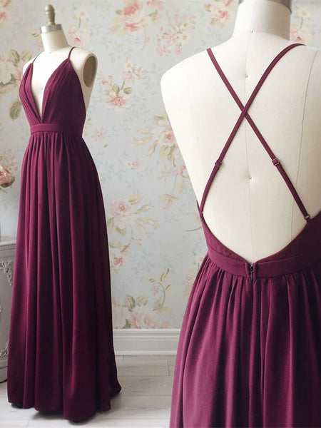 V Neck Backless Chiffon Long Burgundy Prom Dresses, Backless Burgundy Formal Dresses, Burgundy Evening Dresses