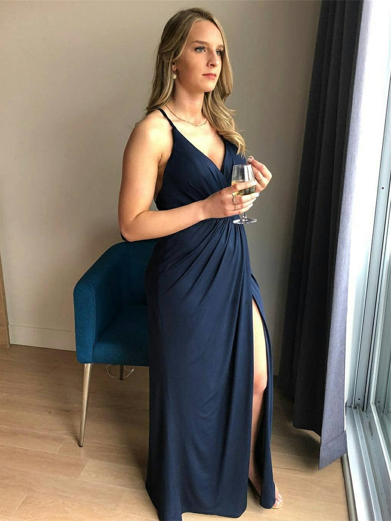 V Neck Backless Navy Blue Long Prom Dresses with Split, Backless Navy Blue Formal Dresses, Navy Blue Evening Dresses
