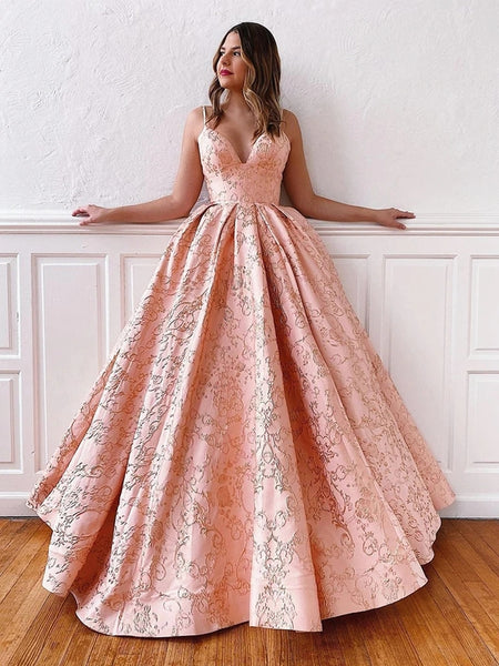 V Neck Backless Pink Lace Prom Dresses with Corset Back, Pink Lace Formal Dresses, Lace Evening Dresses, Pink Ball Gown