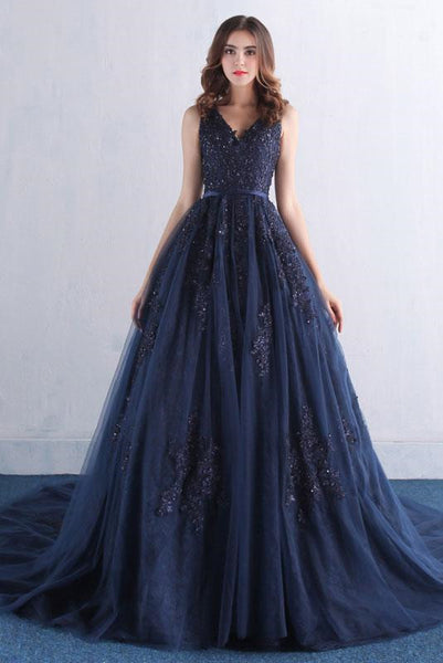 V Neck Dark Blue Lace Prom Dress, Blue Prom Dress, Blue Evening Dress