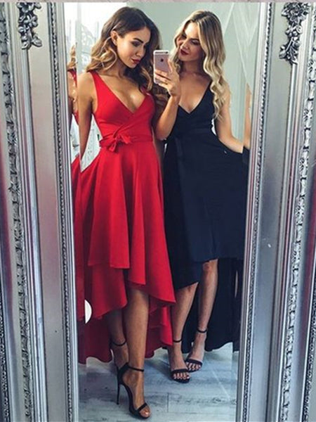 V Neck High Low Black Prom Dresses, V Neck Red Prom Dresses, Black Graduation Dresses