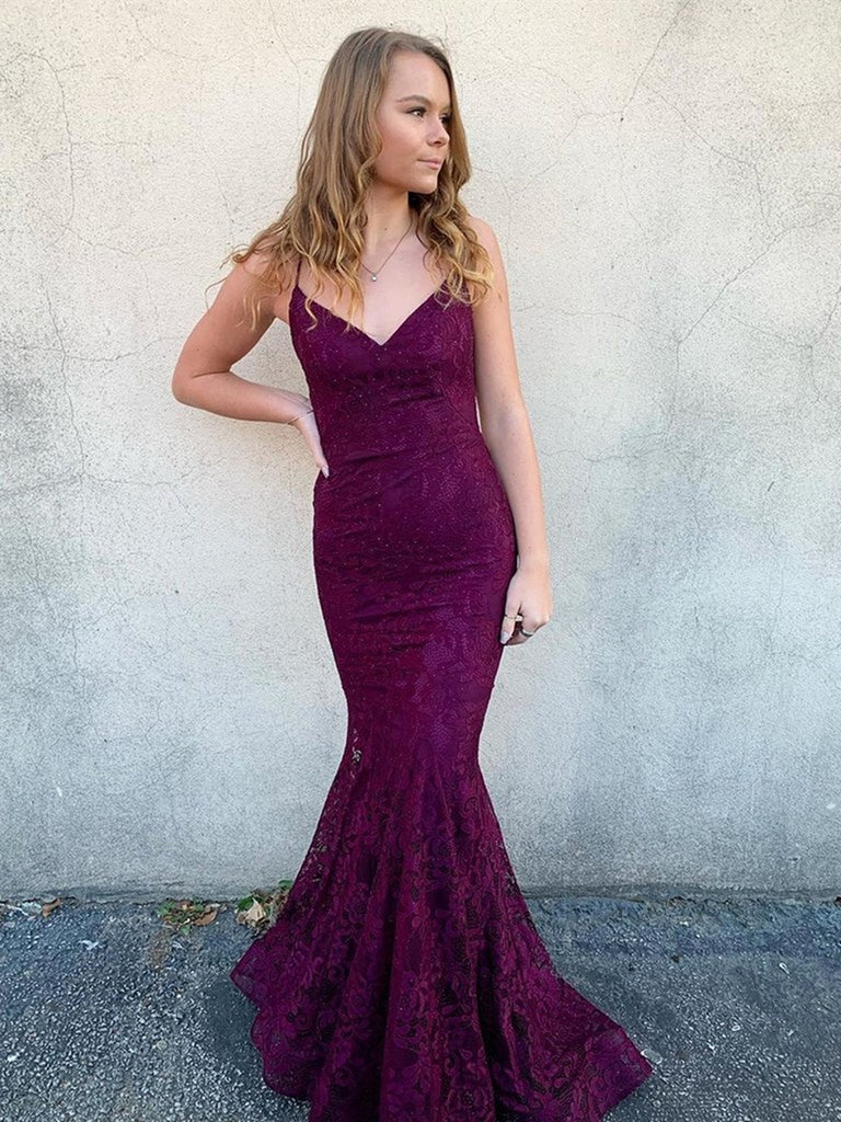 V Neck Long Backless Mermaid Lace Purple Prom Dresses, Backless Mermaid Purple Lace Formal Dresses, Mermaid Lace Purple Evening Dresses