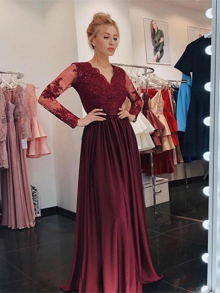 V Neck Long Sleeves Burgundy Lace Prom Dresses 2020, Long Sleeves Burgundy Formal Dresses, Burgundy Lace Bridesmaid Dresses