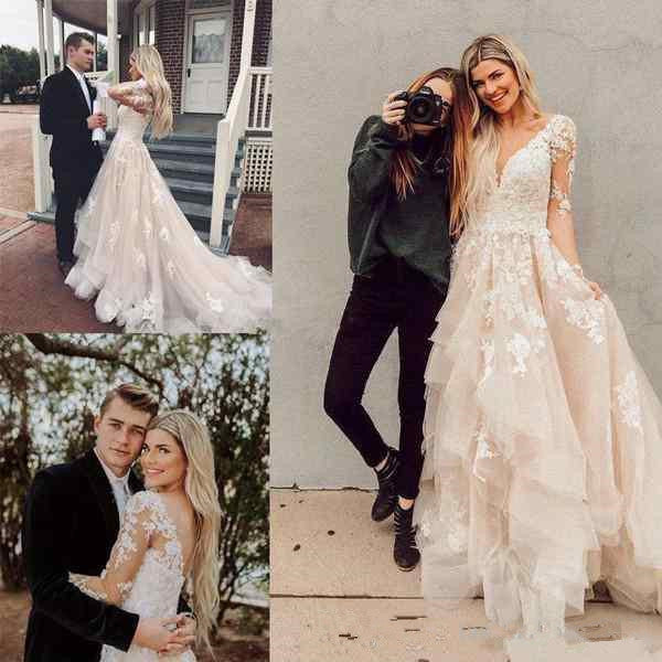 V Neck Long Sleeves High Low Lace Champagne Wedding Dresses With Train, Champagne Lace Prom Dresses