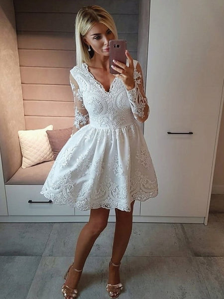 V Neck Long Sleeves Lace White Short Prom Dresses Homecoming Dresses, Long Sleeves White Lace Formal Graduation Evening Dresses