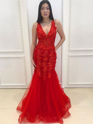 V Neck Mermaid Appliques Red Lace Long Prom Dresses, Mermaid Red Lace Formal Dresses, Red Lace Evening Dresses
