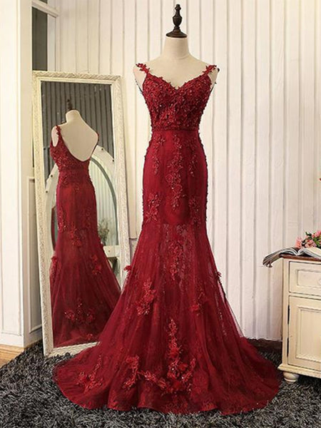 V Neck Mermaid Backless Burgundy Lace Tulle Long Prom Dresses with Train, Burgundy Lace Formal Dresses, Burgundy Evening Dresses