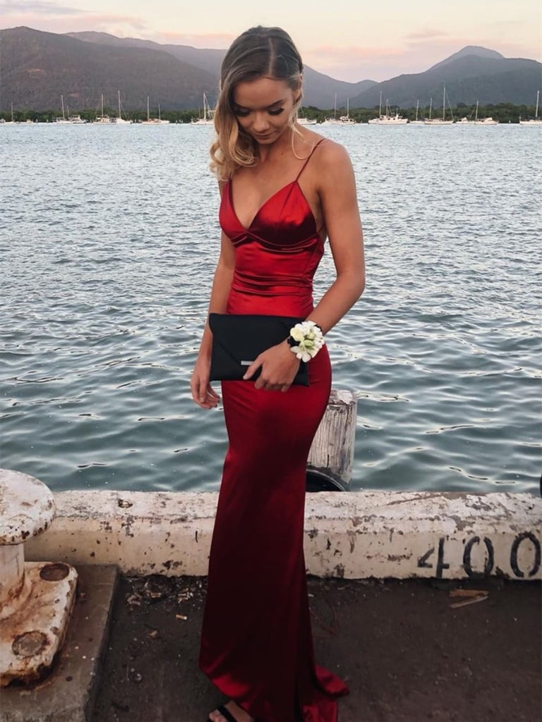 V Neck Mermaid Backless Burgundy Long Prom Dresses, Backless Mermaid Burgundy Formal Dresses, Mermaid Burgundy Evening Dresses