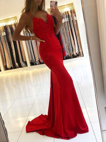 V Neck Mermaid Backless Lace Beaded Red Long Prom Dresses, Mermaid Red Lace Formal Dresses, Mermaid Red Evening Dresses