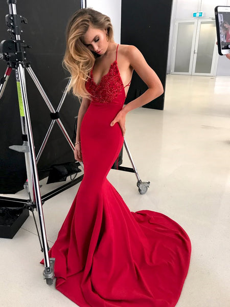 V Neck Mermaid Backless Lace Red Prom Dresses With Train, Mermaid Red Formal Dresses, Evening Dresses
