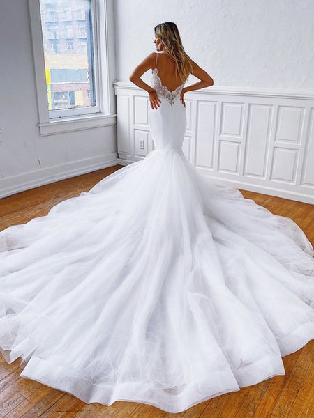 V Neck Mermaid Backless Lace White Long Prom Wedding Dresses, Backless Mermaid Lace White Formal Dresses, White Lace Evening Dresses