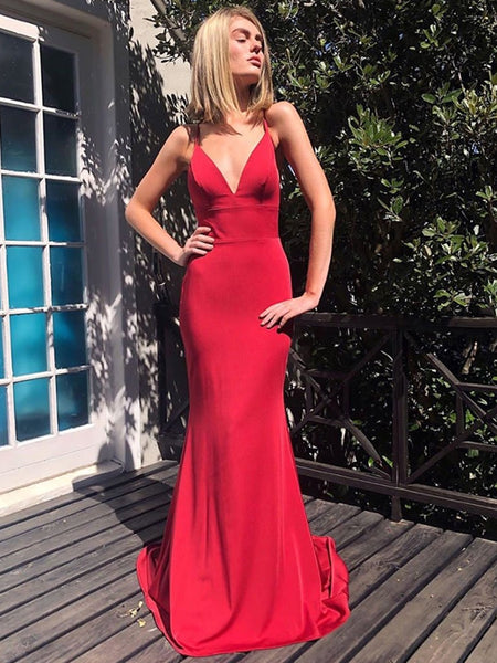 V Neck Mermaid Backless Red Long Prom Dresses, Mermaid Backless Red Formal Graduation Evening Dresses