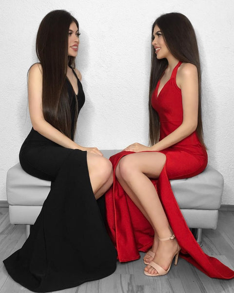 V Neck Mermaid Black/Red Long Prom Dresses with Side Slit, Mermaid Black/Red Bridesmaid Dresses, Graduation Dresses