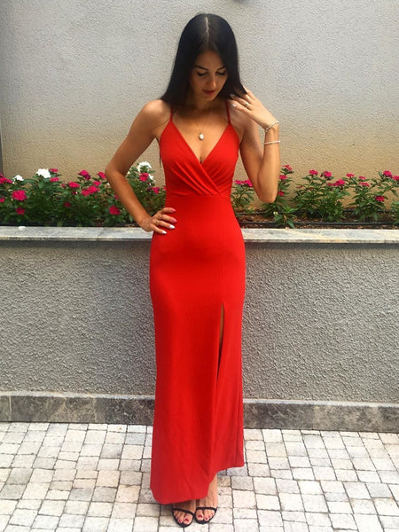 V Neck Mermaid Floor Length Red Prom Dresses with Split, Mermaid Red Formal Dresses, Red Evening Dresses