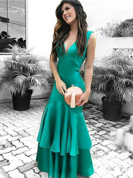 V Neck Mermaid Layered Green Satin Long Prom Dresses, V Neck Mermaid Green Formal Dresses, Mermaid Green Evening Dresses