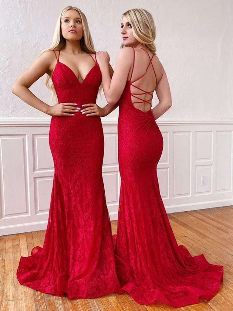V Neck Mermaid Red Lace Long Prom Dresses, Mermaid Lace Red Formal Dresses, Red Lace Evening Dresses