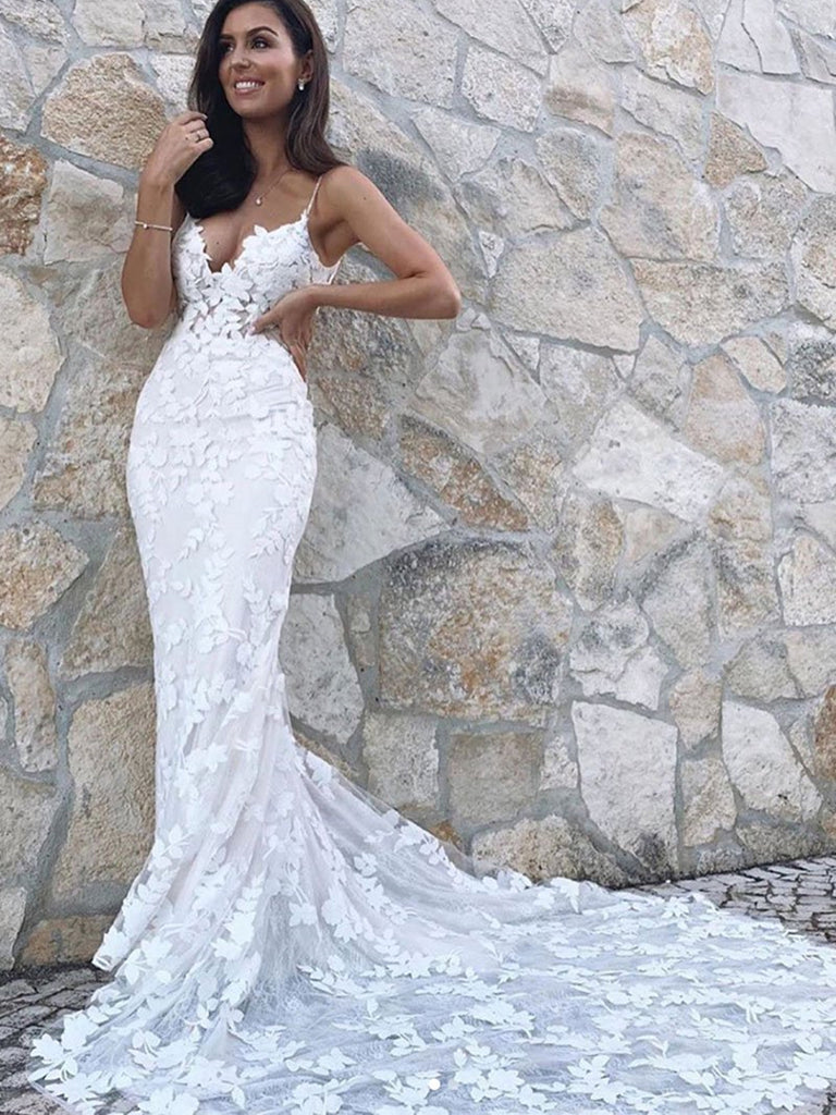 V Neck Mermaid White Appliques Long Wedding Prom Dresses with Train, Mermaid White Lace Appliques Formal Evening Dresses