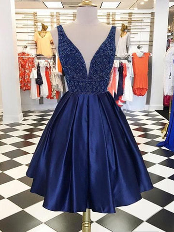 V Neck Navy Blue Prom Dresses, Navy Blue Homecoming Dresses Party Dresses