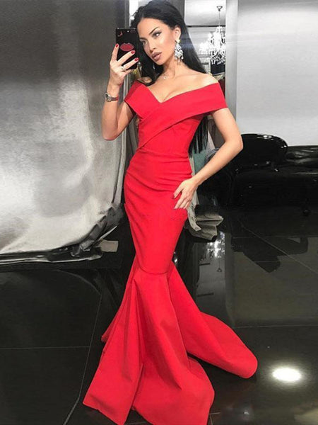 V Neck Off Shoulder Mermaid Red Long Prom Dresses, Red Mermaid Formal Dresses, Red Mermaid Evening Dresses